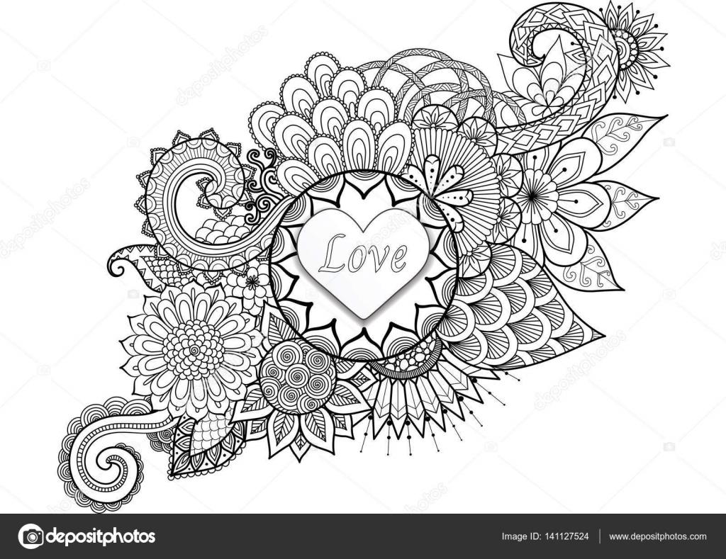 Kleurplaten Voor Valentijnsdag.Hart Vorm Met Het Woord Liefde Op Florale Achtergrond Voor