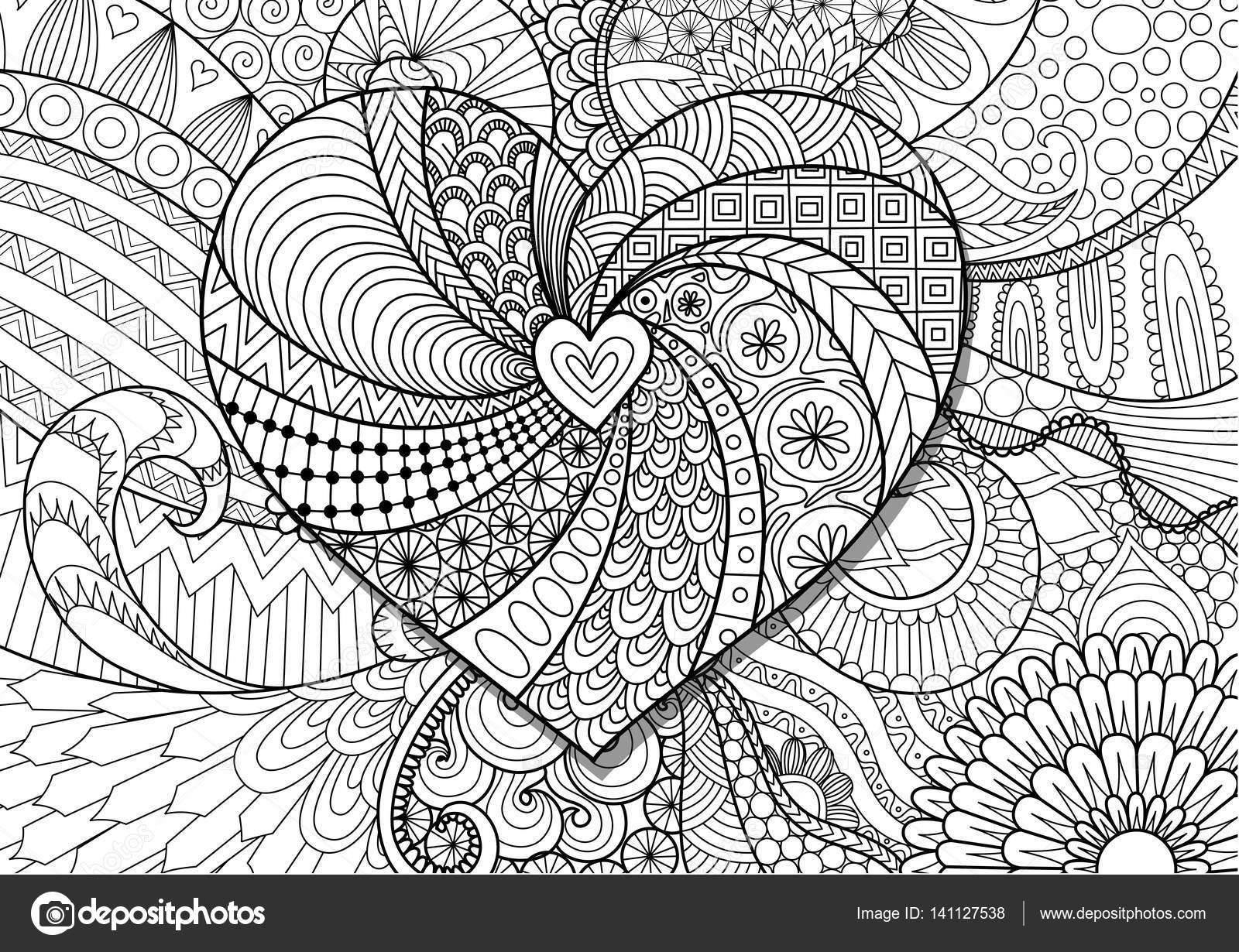Herz auf floraler Hintergrund für Erwachsene Malvorlagen Buch