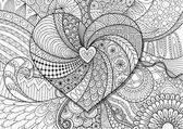 Fotografie Herz auf floraler Hintergrund für Erwachsene Malvorlagen Buch, Valentinstag Karte und Hochzeitseinladung. Aktie Vector