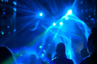 Night life in music festival, blue and green light for background and illustration