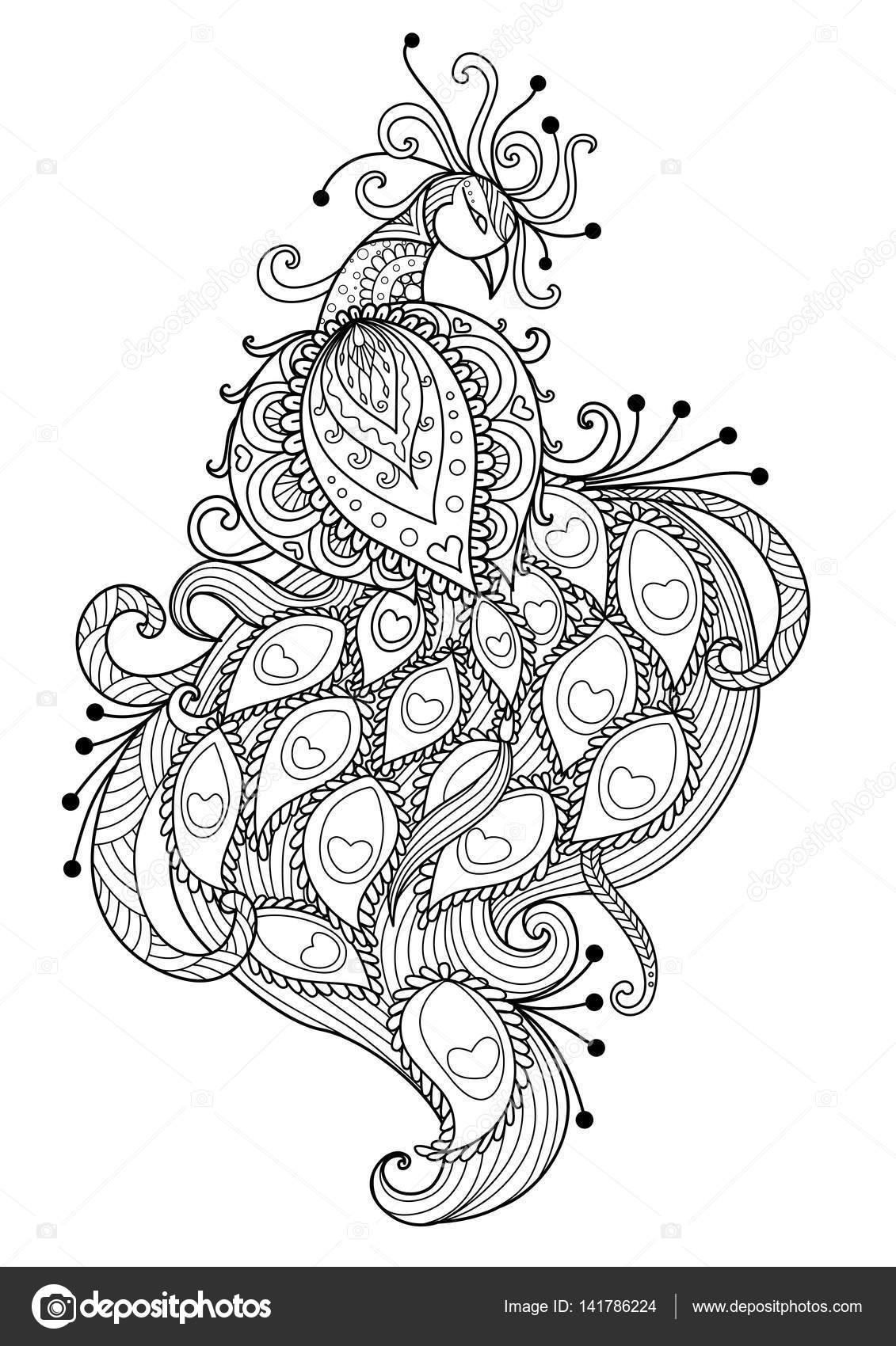 Beautiful Unique Peacock For Coloring Book T Shirt Design Mug