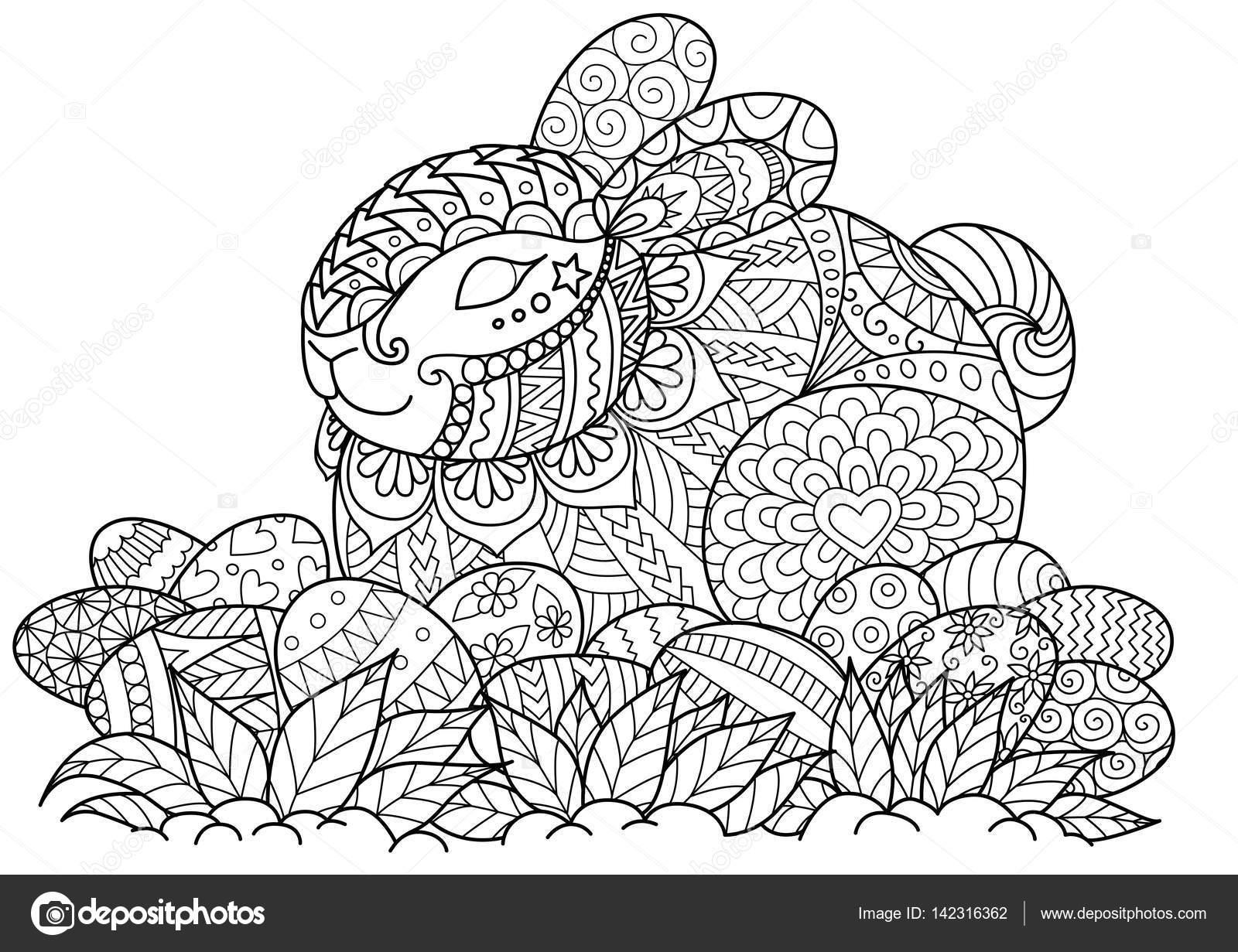 Zendoodle estilizar de lindo conejito sentado en los huevos de ...