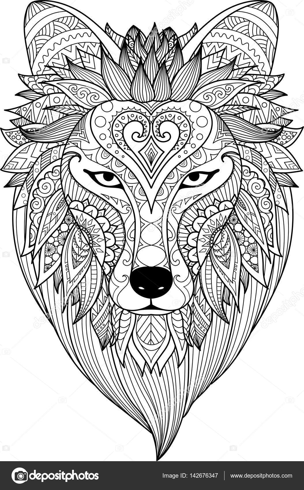 Zendoodle Stylize Of Dire Wolf For Tattoo T Shirt Design