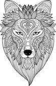 Fotografie Zendoodle stilisieren von Dire Wolf für Tattoo, t-shirt-Design, Becher Design, Erwachsenen Färbung Buchseite und andere Design-element