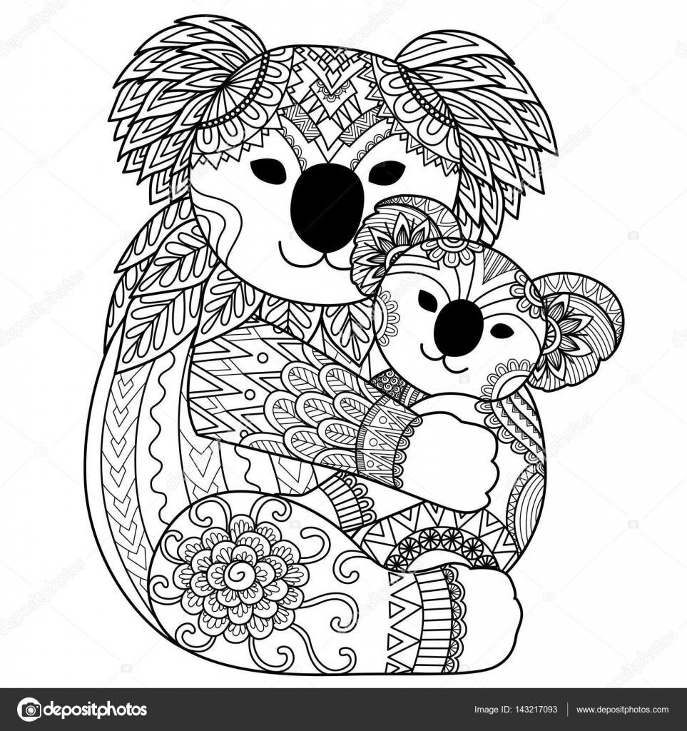 zendoodle design of koala cuddling baby stock