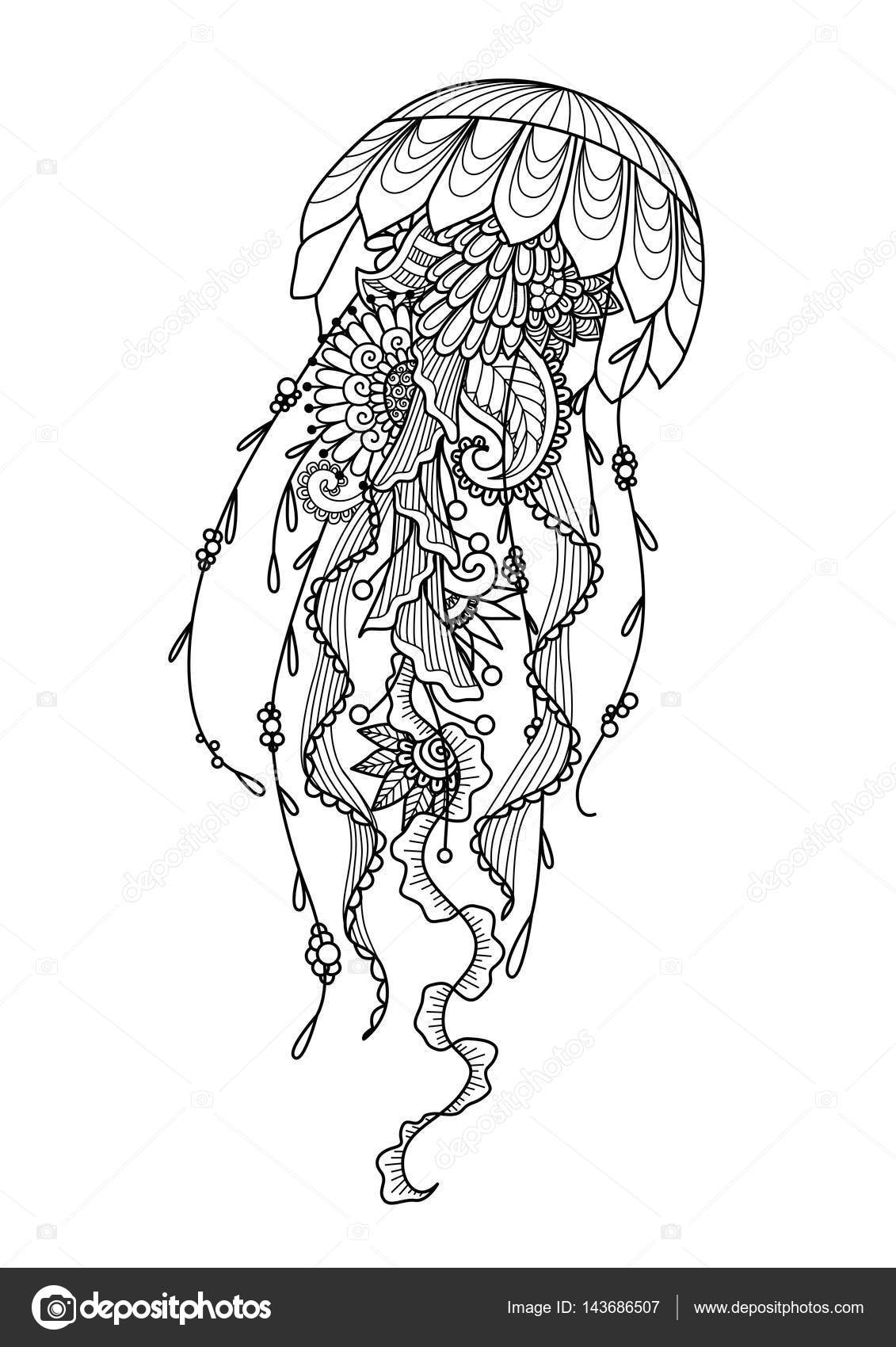 Zendoodle stylized jellyfish for