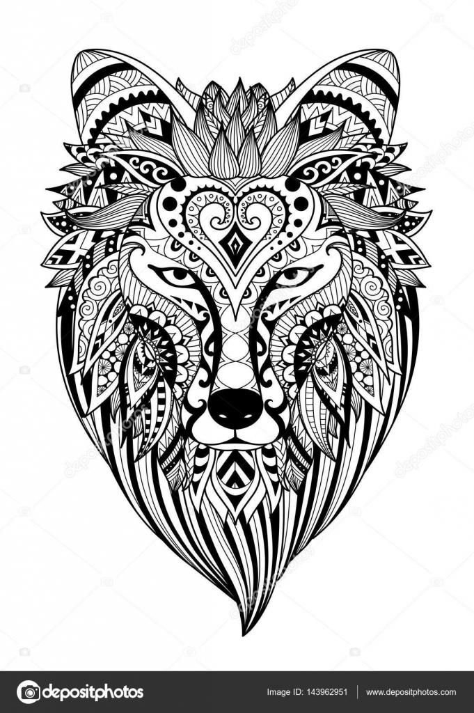 Zendoodle estilizar de Canis dirus de tatuaje, diseño de la camiseta ...