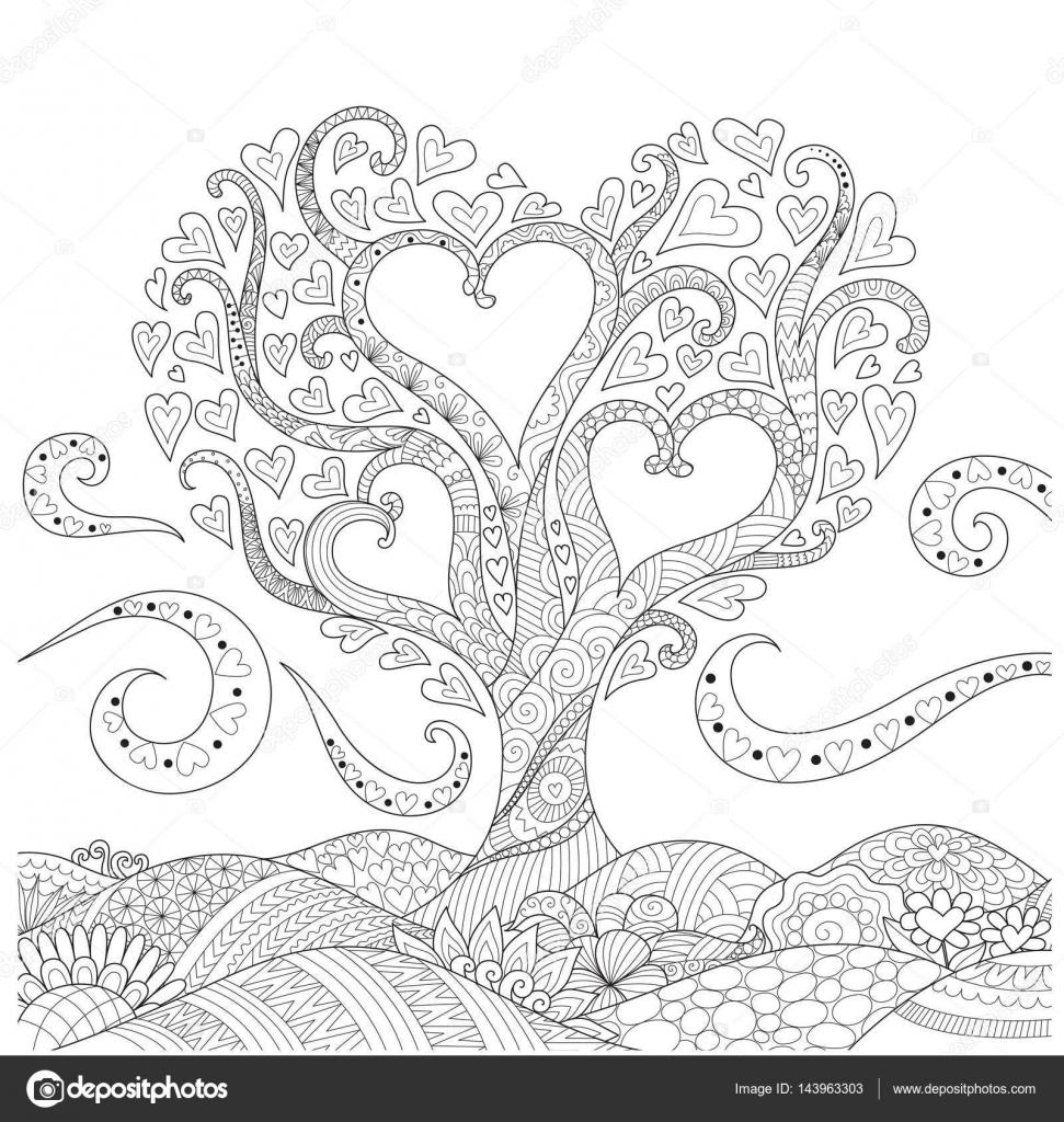en forma de corazón en el arte de línea tierra floral diseño de ...