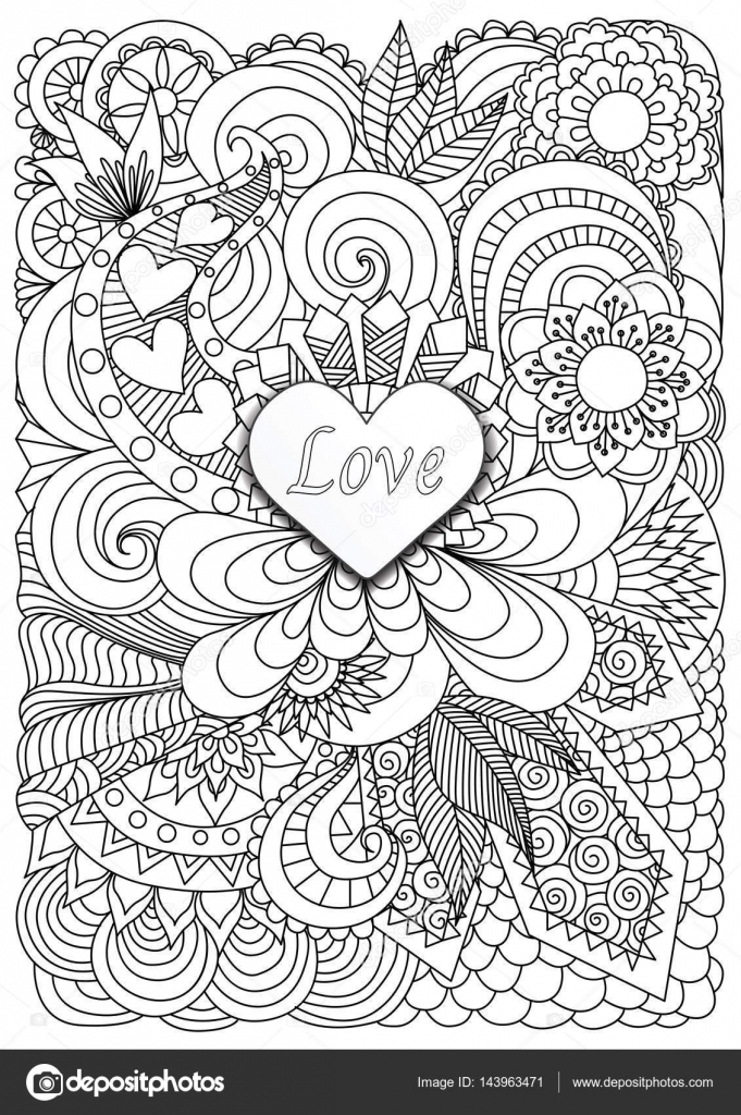 Heart Shape The Word LOVE On Floral Background For Adult Coloring Book Page And Valentines Card