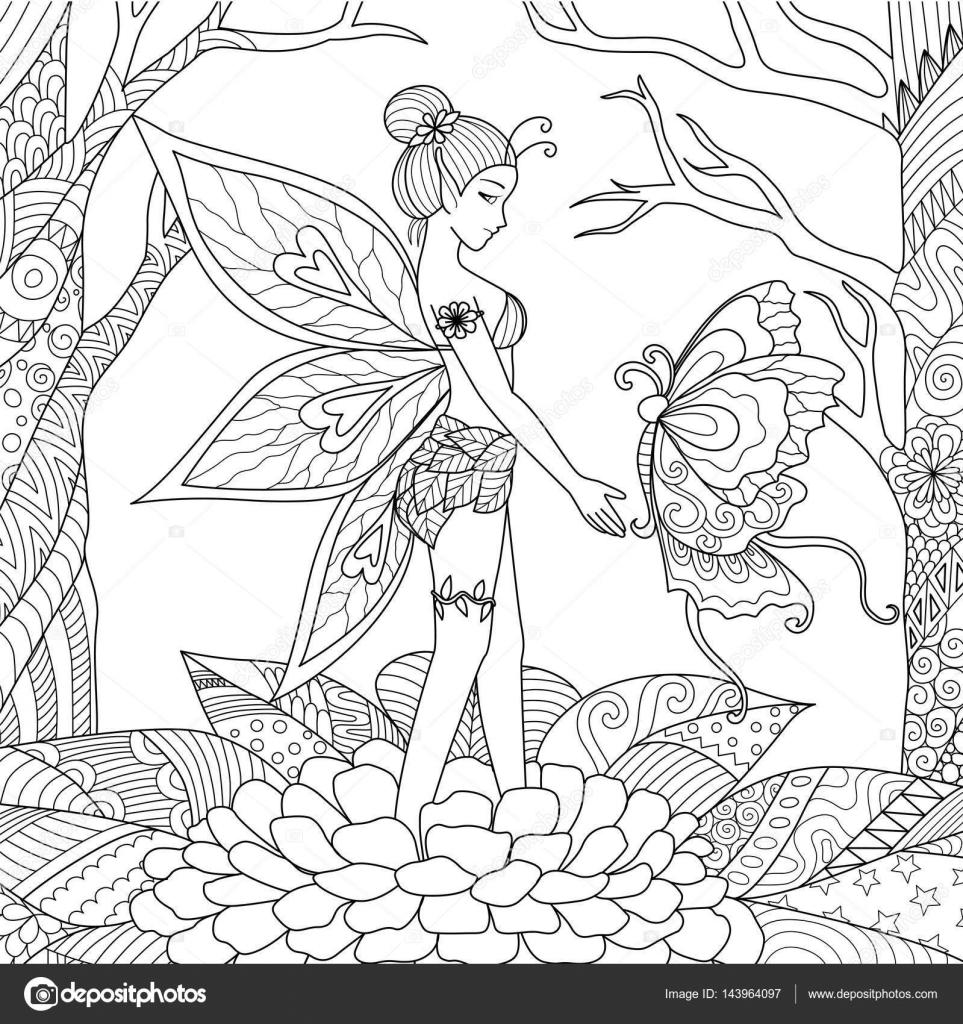Chica de hadas bonita jugando con grandes hermosa mariposa en la ...