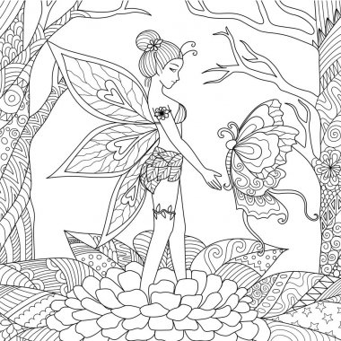 Pretty fairy girl playing with big beautiful butterfly in the jungle for adult coloring book page. Stock Vector