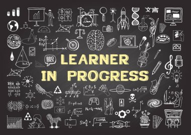 Hand drawn icons about Learning in Progress on chalkboard