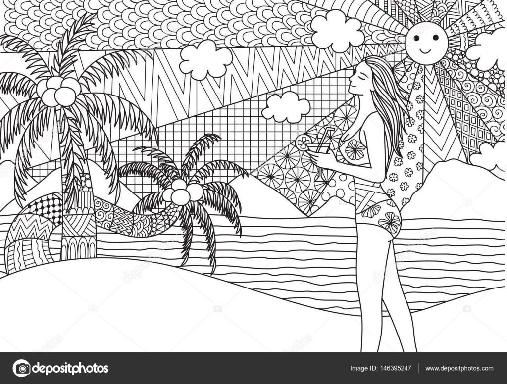 Zentangle Design Von Sexy Girl Walking Am Strand Mit Wellenförmigen