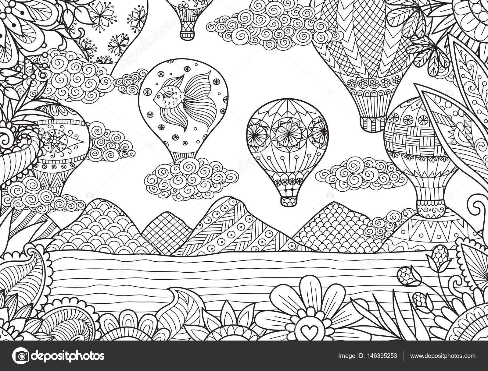 globo aerostático volando en primavera — Vector de stock ...