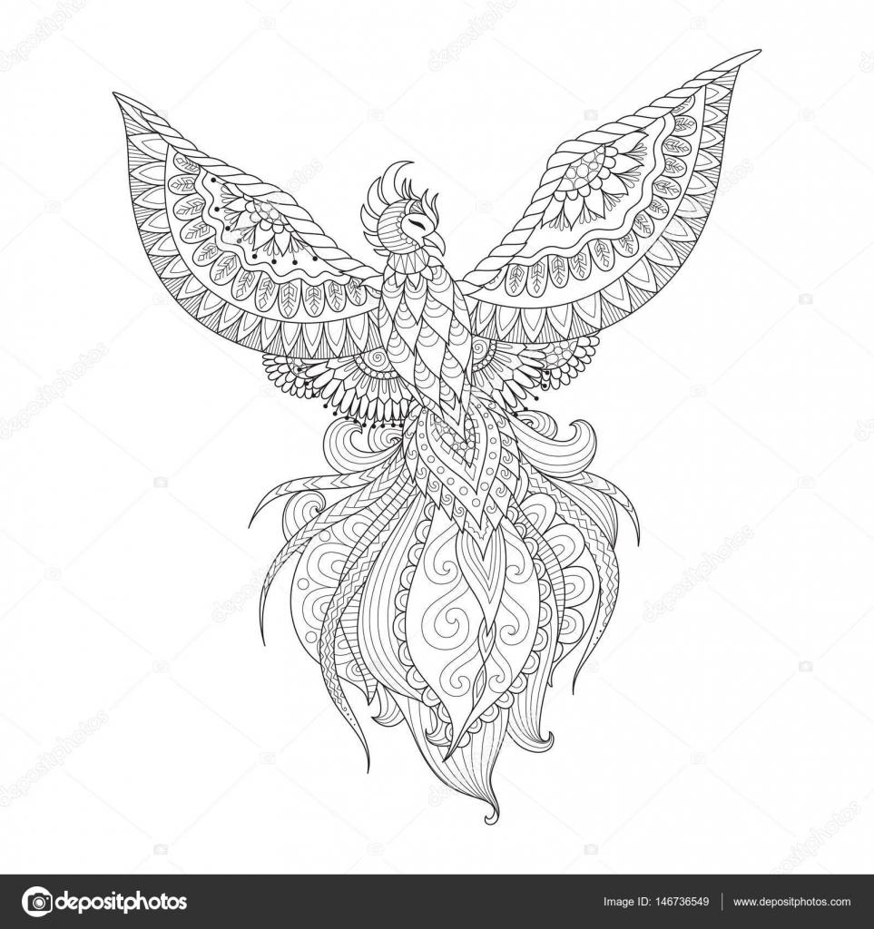 Zendoodle Design Of Phoenix Bird For Tattoo T Shirt Design Adult