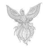 Fényképek Zendoodle design a Főnix madár tetoválás, t shirt design, felnőtt színezés könyv oldal és egyéb látványelemet. Stock Vector