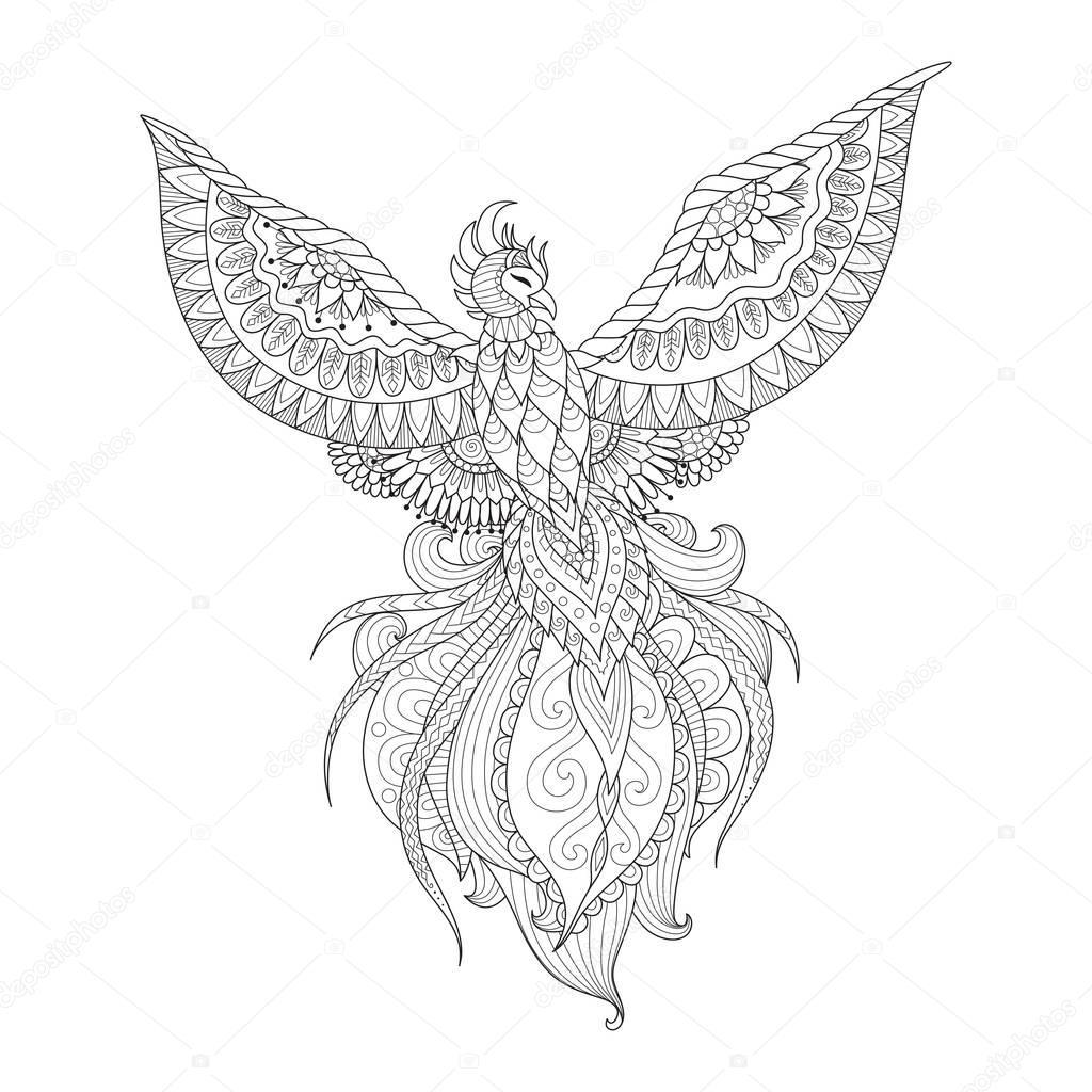 zendoodle conception d'oiseau phoenix pour le tatouage le
