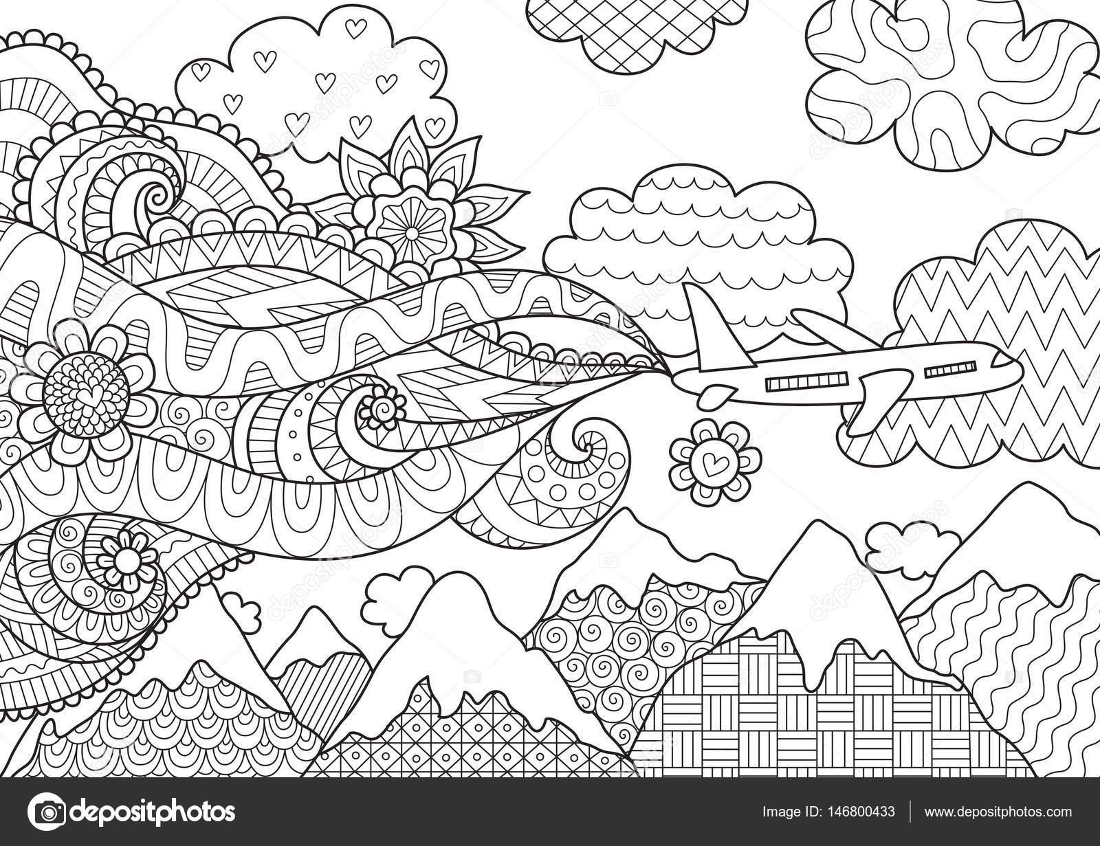 Zendoodle Design Von Flugzeug Fliegen über Berge Für
