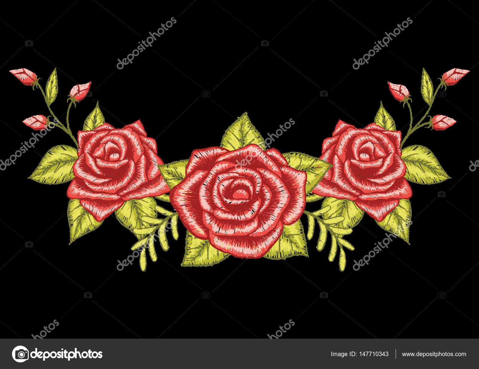 Bordado De Tres Rosas Rojas Vector De Stock