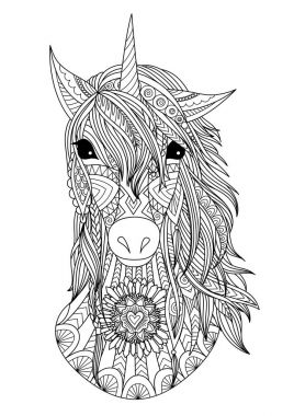 Zendoodle stylized unicorn head