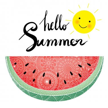 Hand lettering with watermelon slice
