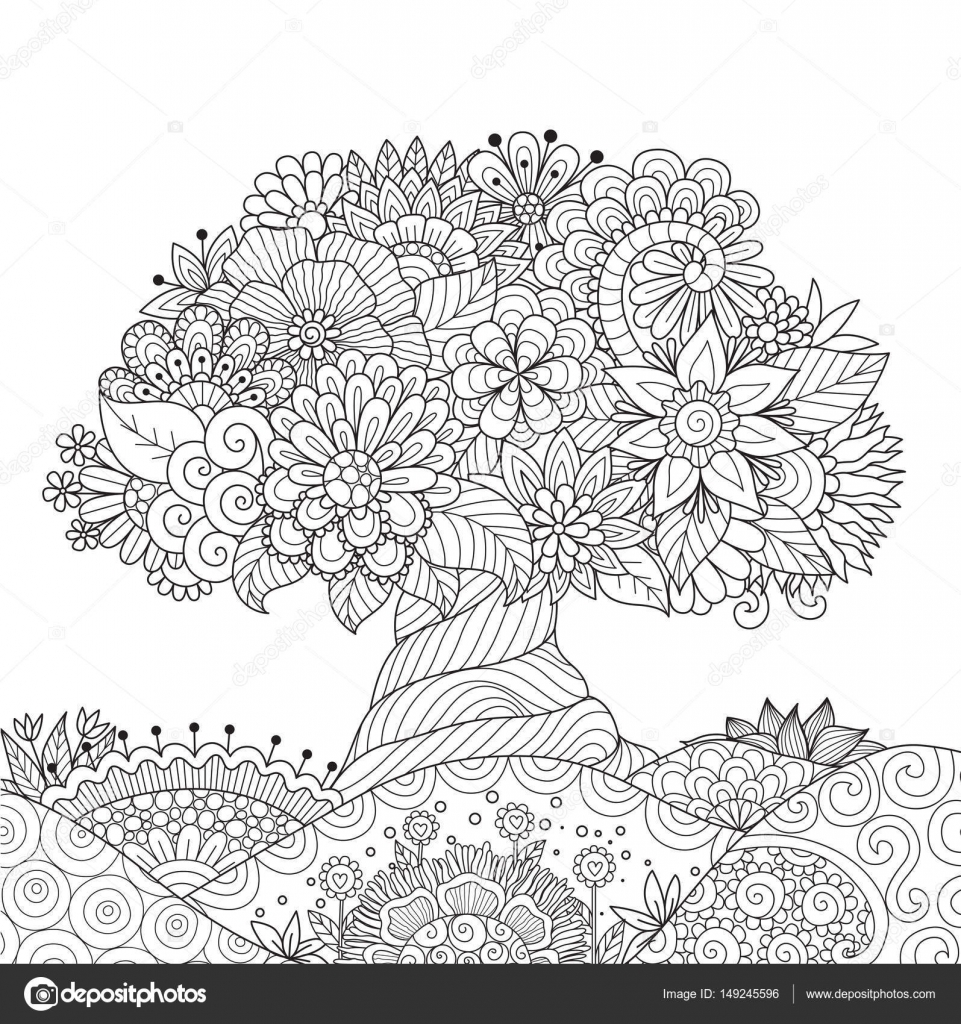 Schöne abstrakte Baum auf florale Boden für Design-Element und ...