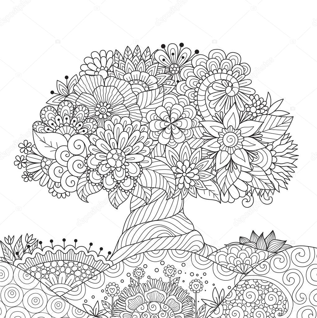 Beautiful abstract tree on floral ground for design element and adult coloring book pages.