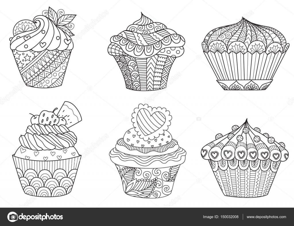 zes zendoodle cupcakes voor ontwerpelement en volwassen of