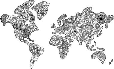 Abstract floral world map zendoodle design for t shirt design, design element, printed design and adult coloring book page. Vector illustration