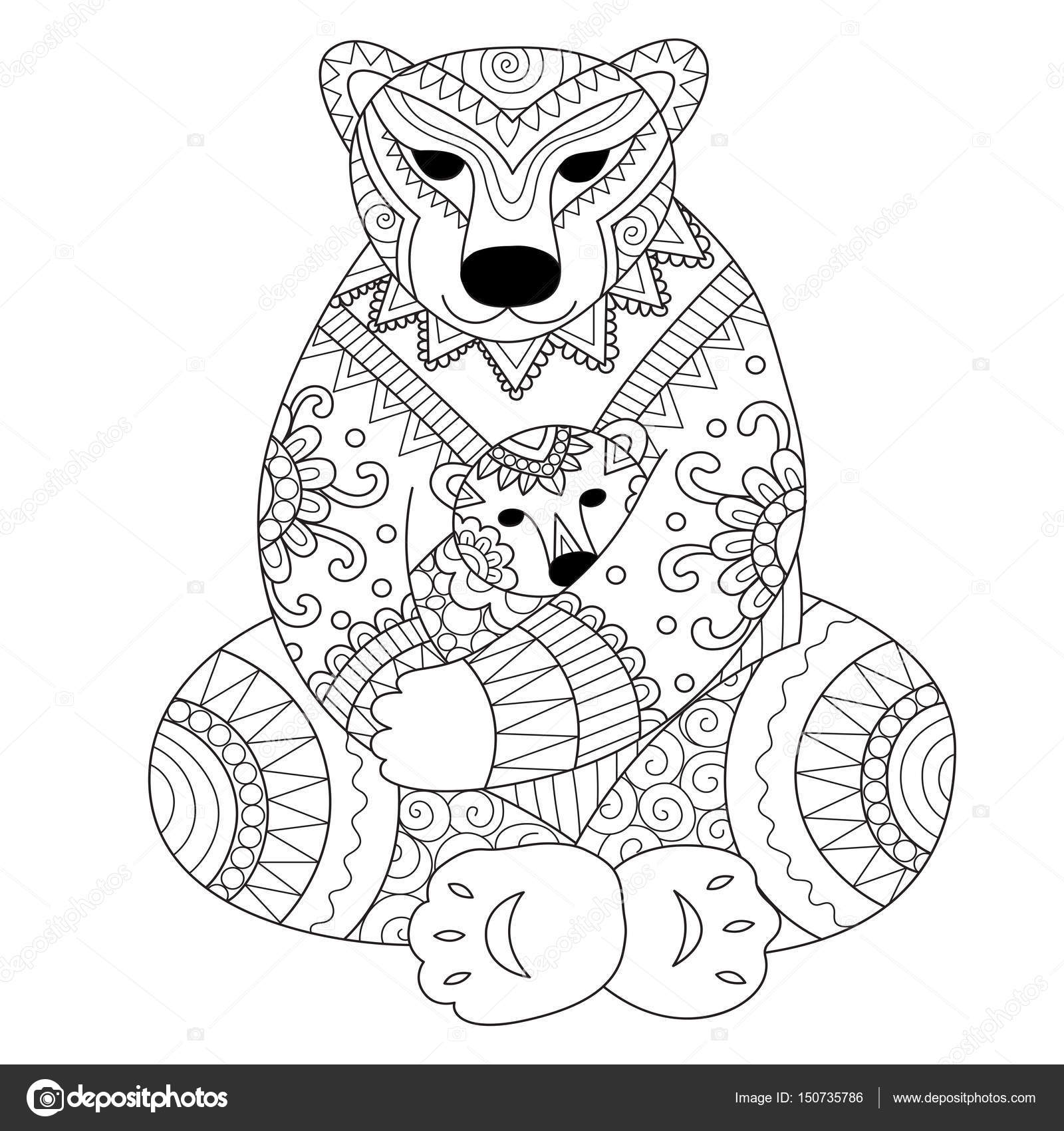 Polar Bear Mother Cuddling Her Son In Arms Zendoodle Design For T
