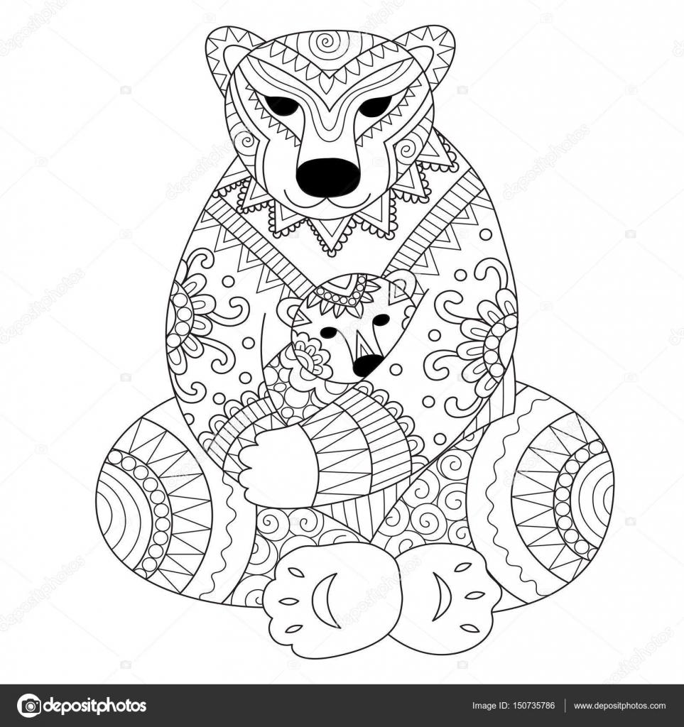 Eisbär-Mutter ihren Sohn in ihr Arme Zendoodle Design für t - Shirt ...