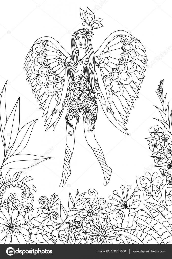Chica hermosa hada volando y jugando con mariposa en maravillosa ...