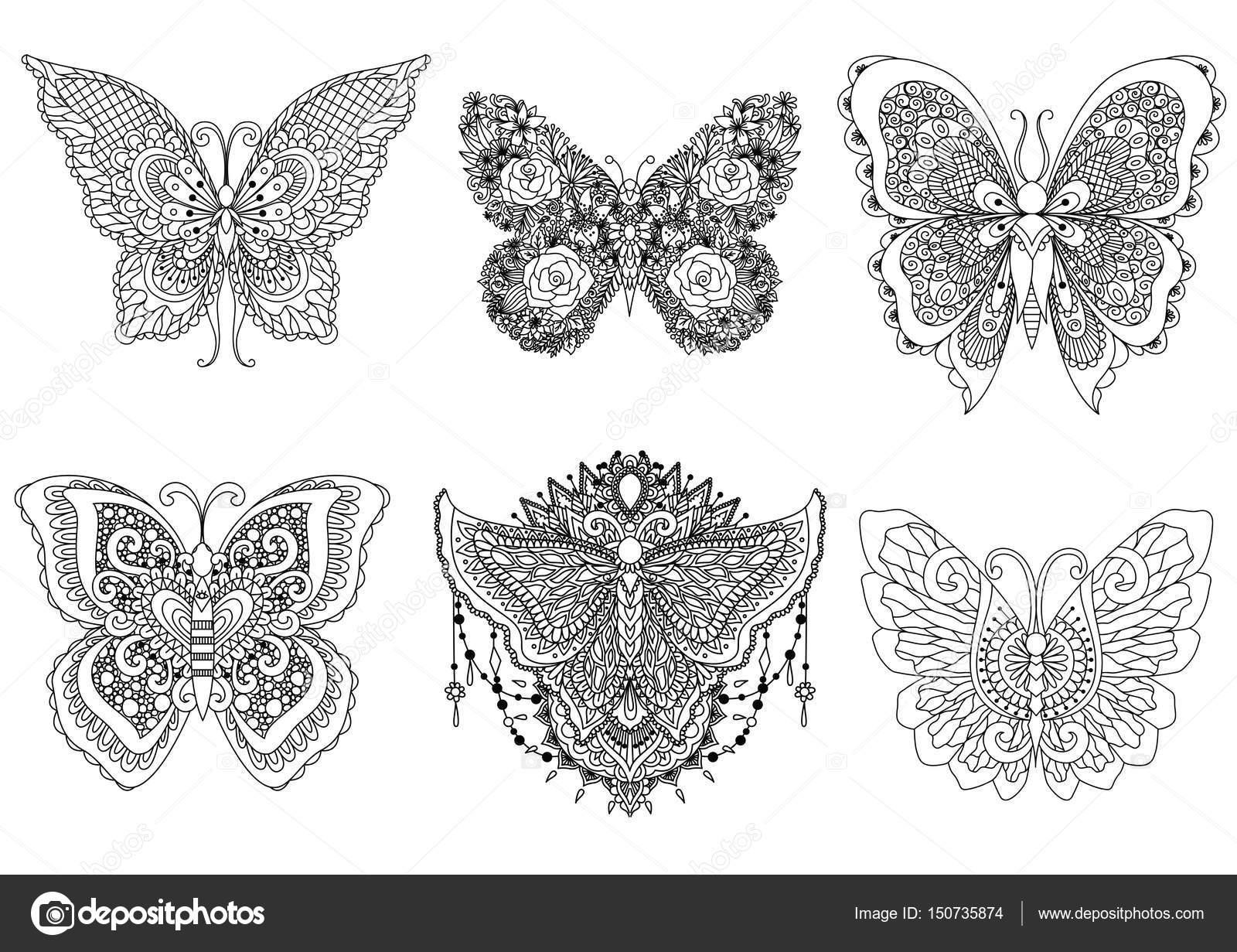 Un conjunto de hermosas mariposas únicos para el elemento de diseño ...