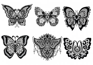 Six beautiful unique butterflies for design element like sticker, tattoo, t shirt design and adult coloring book page. Vector illustration
