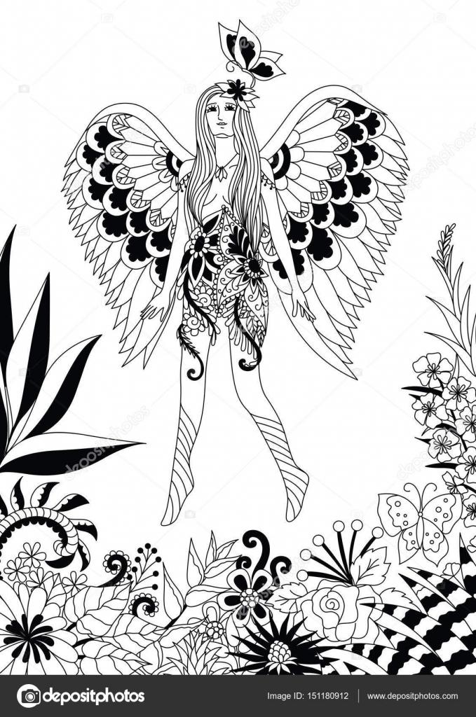 Hadas mariposas para colorear | Hada volando con mariposa — Vector ...