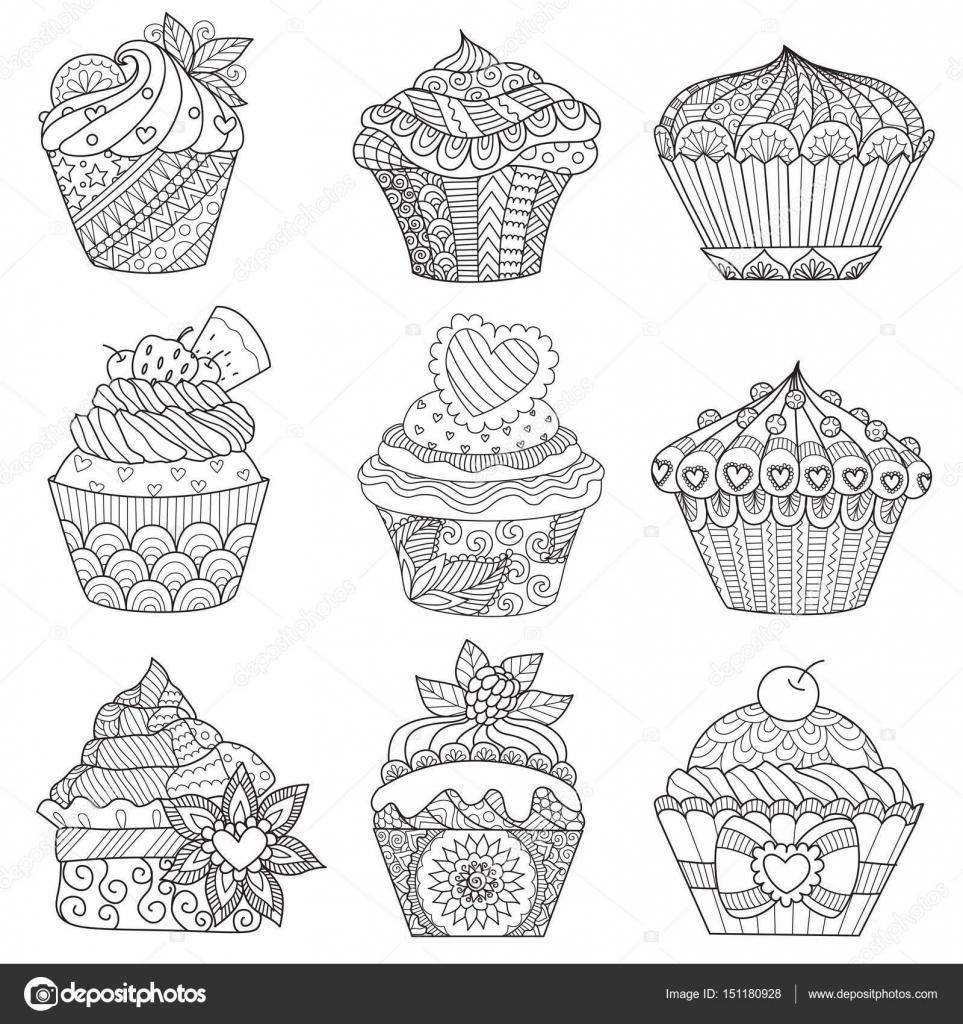 zes zendoodle ontwerp cupcakes op witte achtergrond
