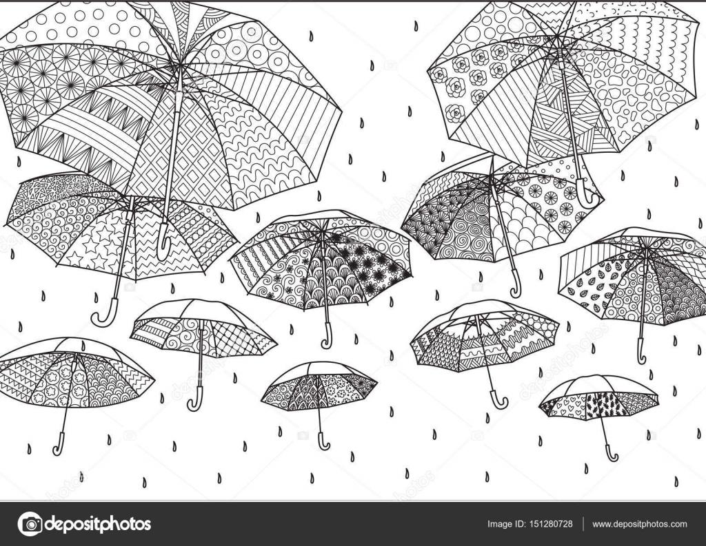 Paraguas volando para el fondo, Ilustración, tarjeta, adulto o niños ...