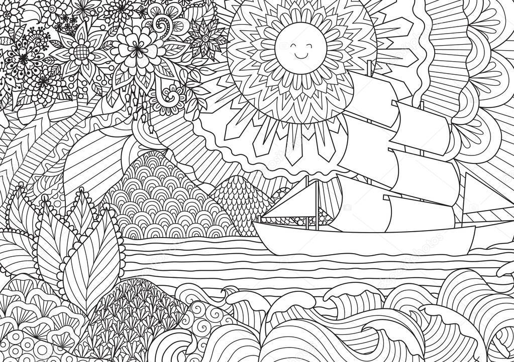 Line art design of seascape for adult or kids coloring book page. Vector illustration.