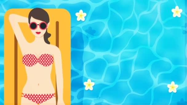 2d Animation of sexy girl wearing bikini laying on yellow inflatable on swimming pool background.