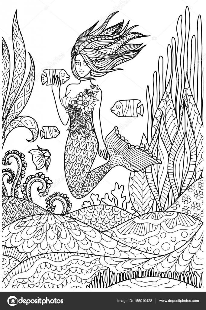 Hermosa sirena nadando bajo el mar para colorear libro de adulto ...