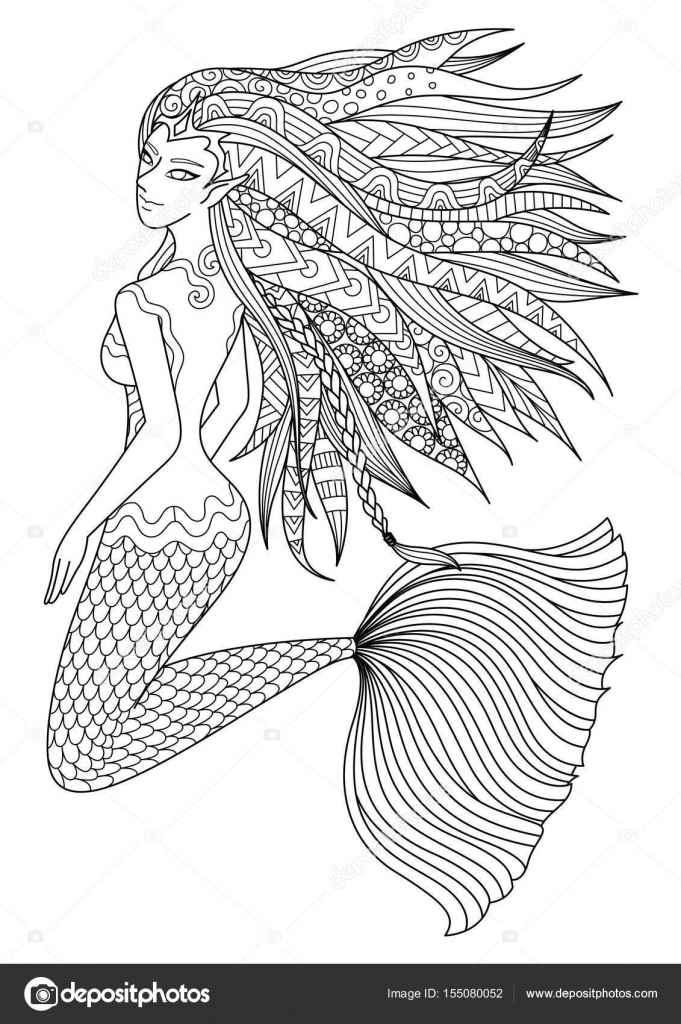 Bella sirena nuotare nella progettazione dell 39 oceano per - Sirena libro da colorare ...