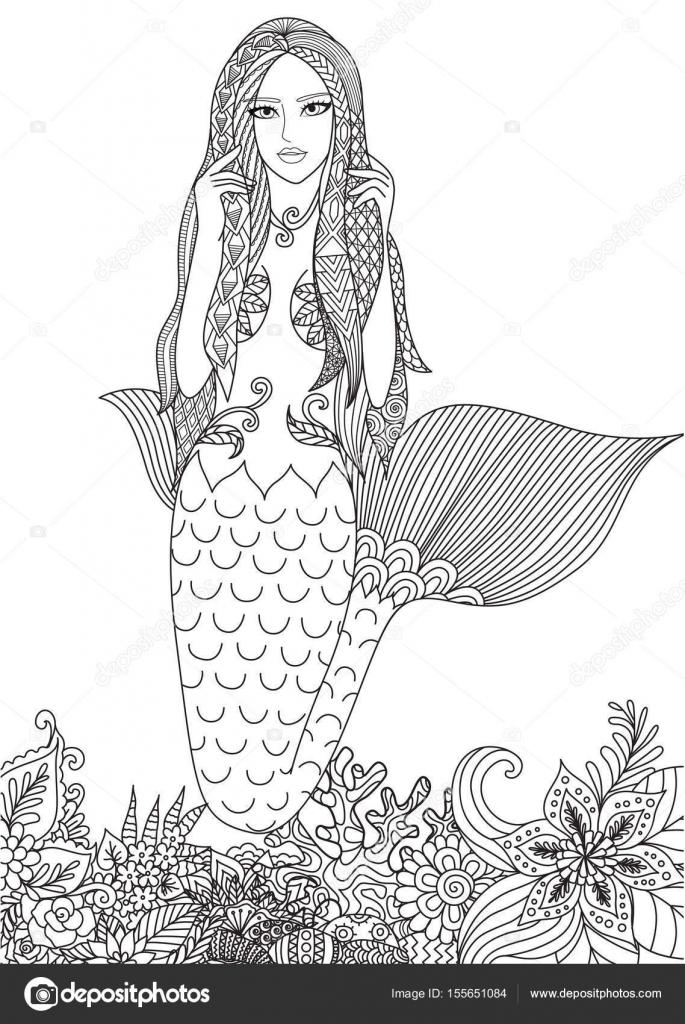 Hermosa sirena nadando entre corales increíbles para adulto para ...