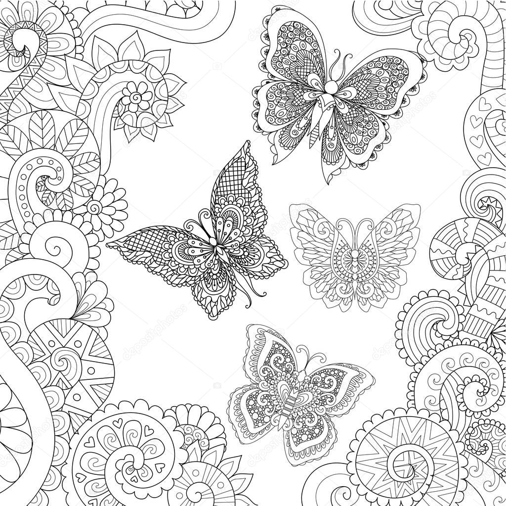 Beautiful butterflies flying in the floral jungle design for adult coloring book pages. Vector illustration