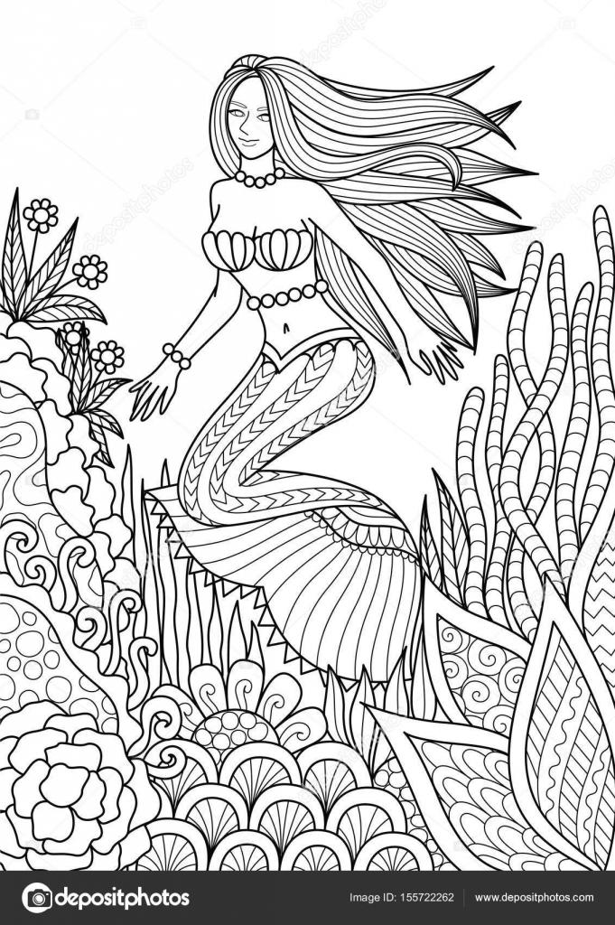 Bonita sirena nadando entre diseño hermoso coral para adulto para ...