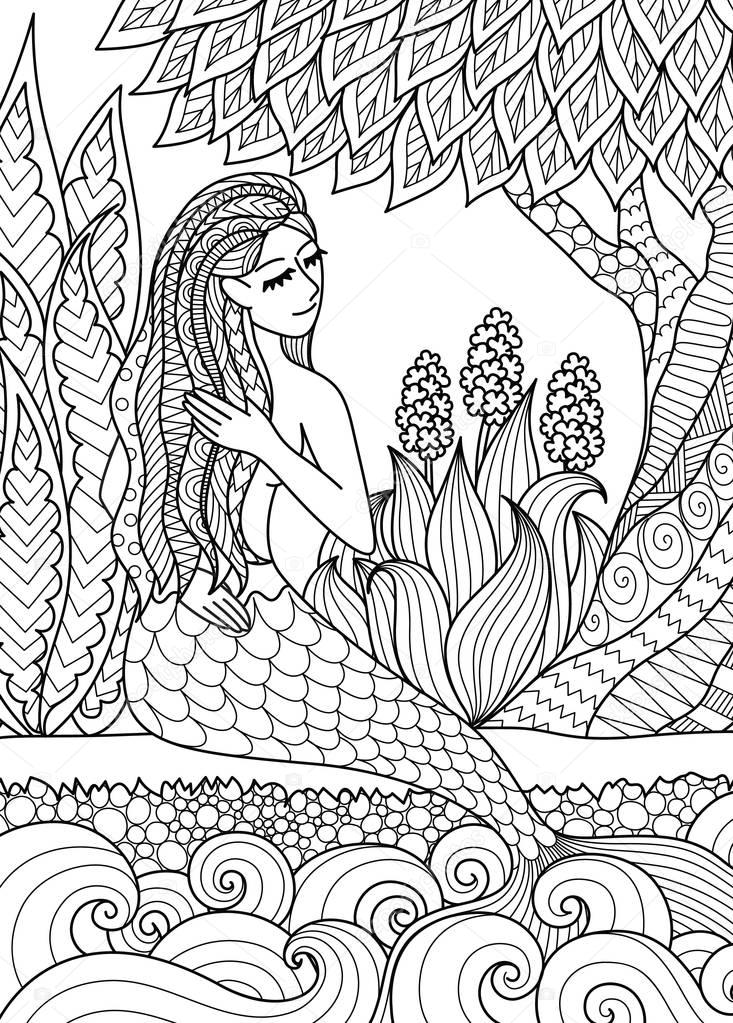 Pretty Mermaid Sitting By The River Arrange Her Hair Design For