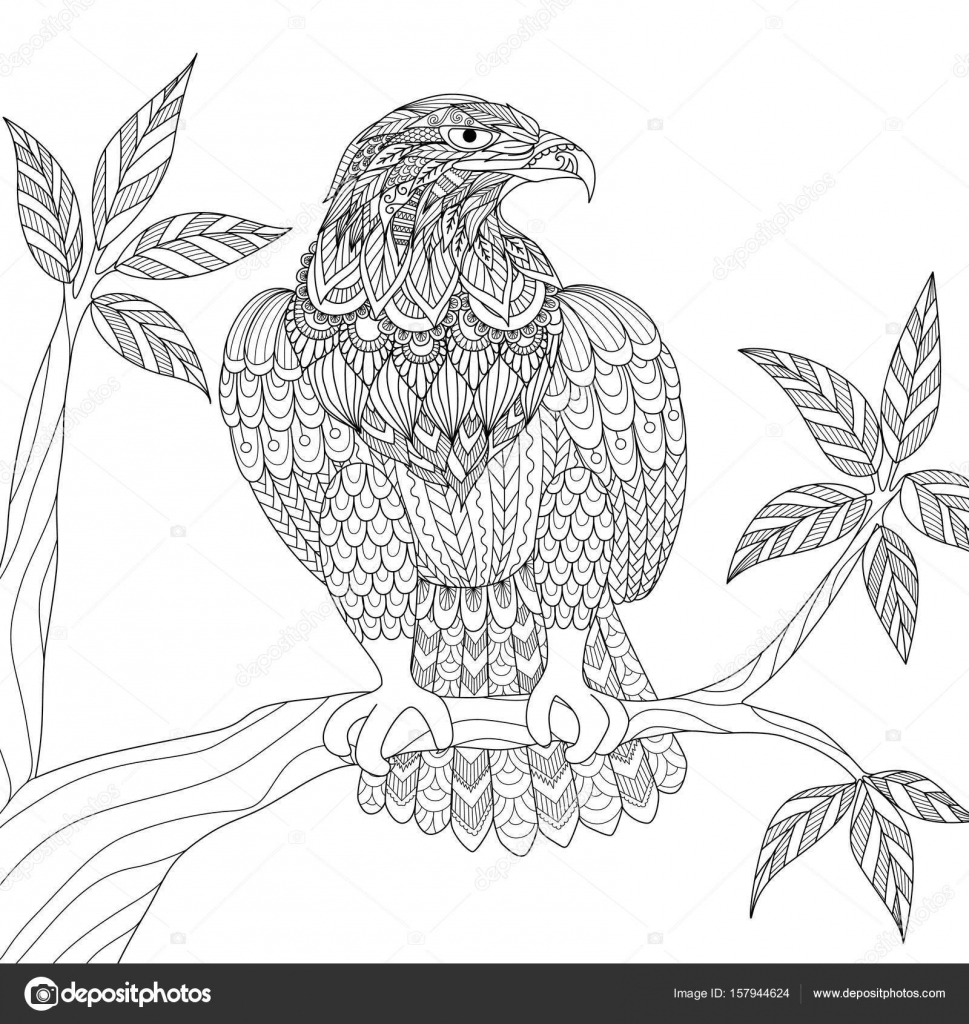 Hand Drawn Tribal Eagle Sitting On Tree Branch For Adult