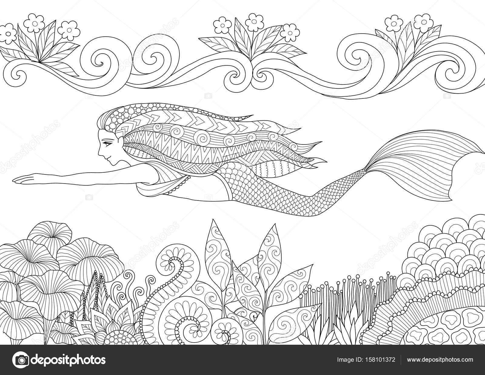 Hübsche Meerjungfrau Schwimmen oben schöne Korallen für Erwachsenen ...