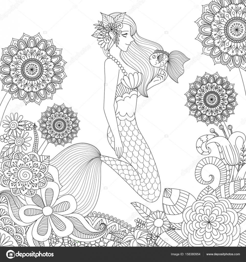 mooie zeemeermin spelen met leuk vis voor volwassen