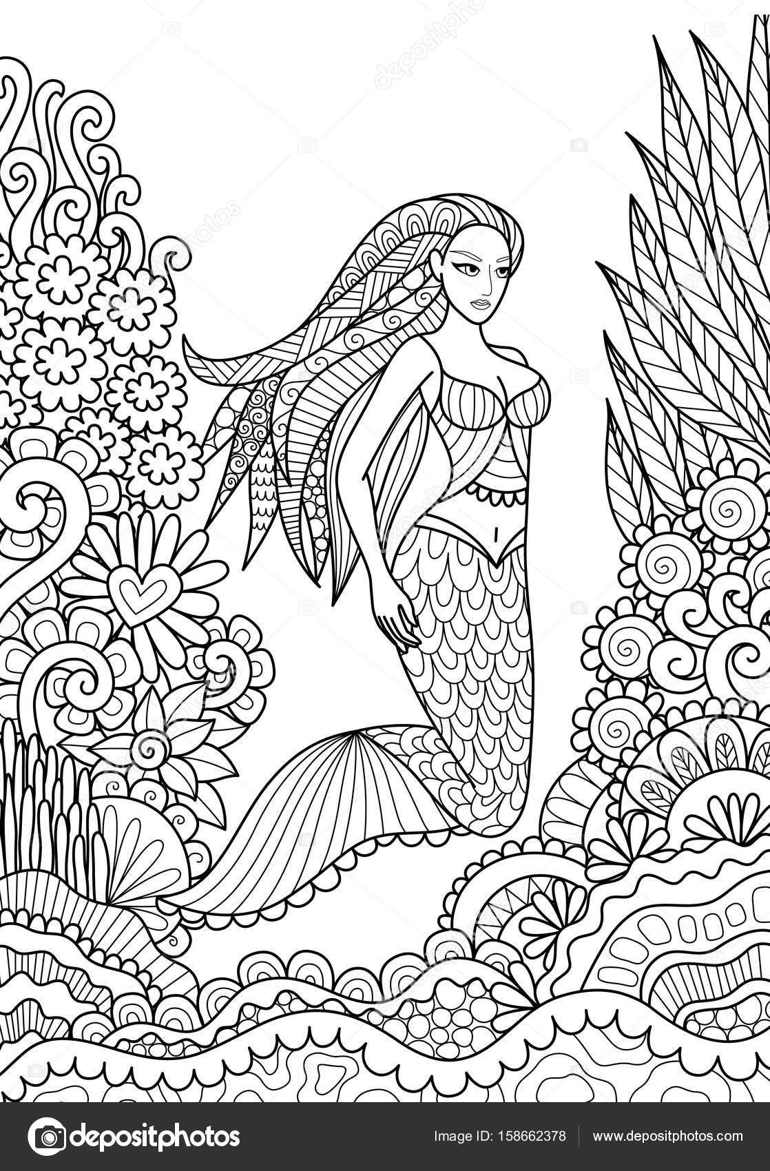 Bonita sirena nadando en el océano para adulto para colorear página ...