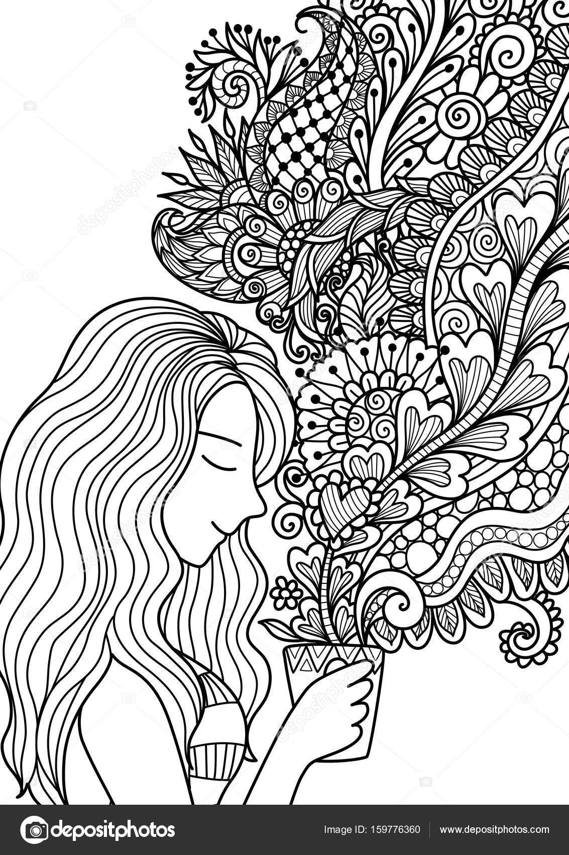 Hübsches Mädchen den floralen Kaffee für Design-Element und ...